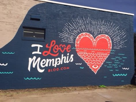 Brick wall painted with heart in Memphis Tennessee