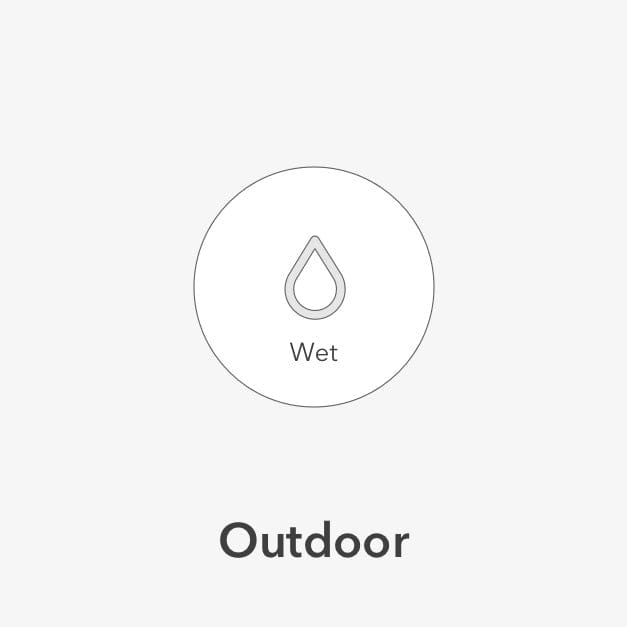 Wet symbol of a raindrop to indicate outdoor