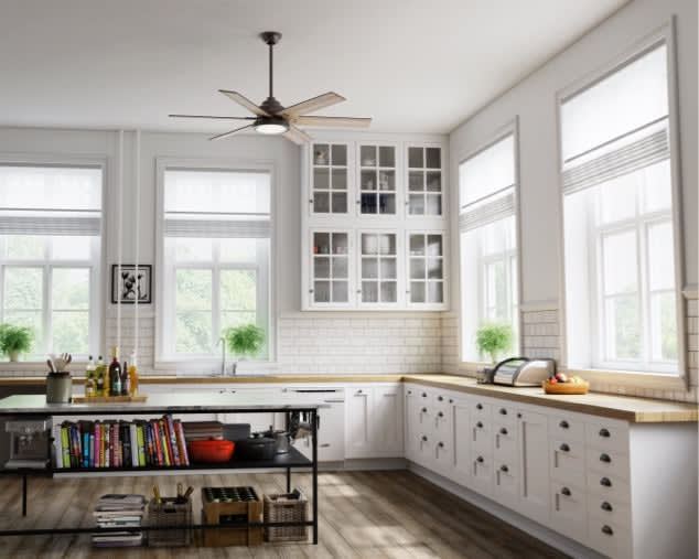 Kitchen room scene with 60inch Warrant ceiling fan in noble bronze finish