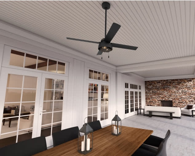 Outdoor patio view with ceiling fan feature