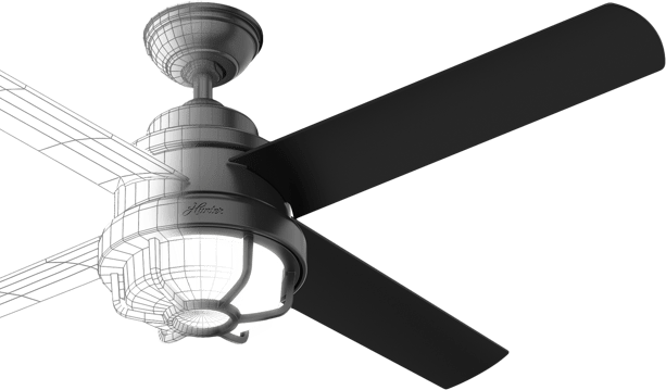 Ceiling fan split in half with one side displaying a 3D rendering of the fan and the other side the finished product