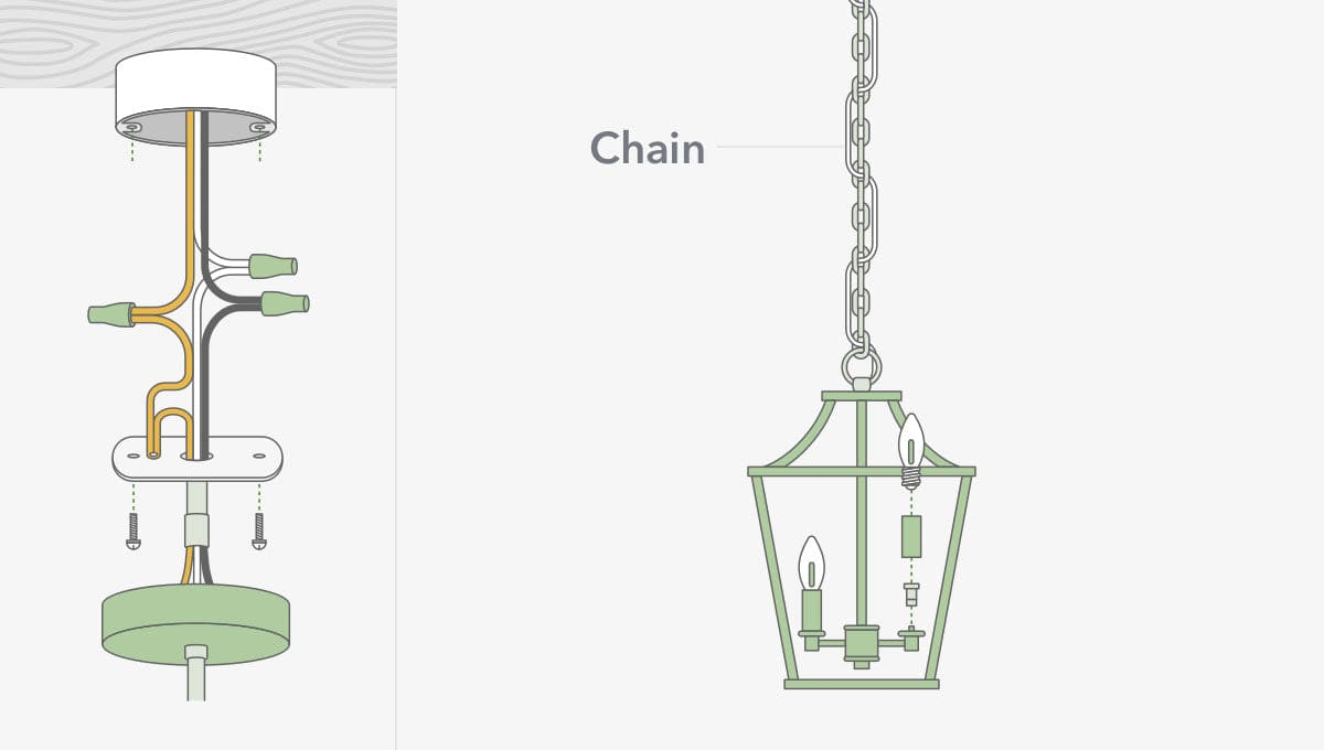 How to install a pendant light with a chain illustration